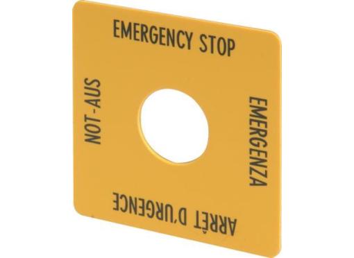 Eaton Nødstopsskilt kvadratisk gul