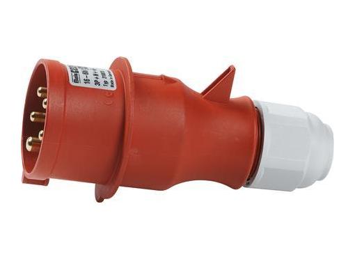 CEE Stikprop H6 400V AC 16A 5 polet, rød multigrip kabelaflastning, IP44