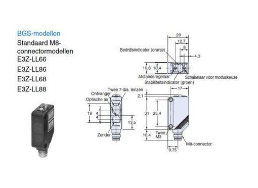 Omron Afstandssensor 20 - 300 MM pnp ip67