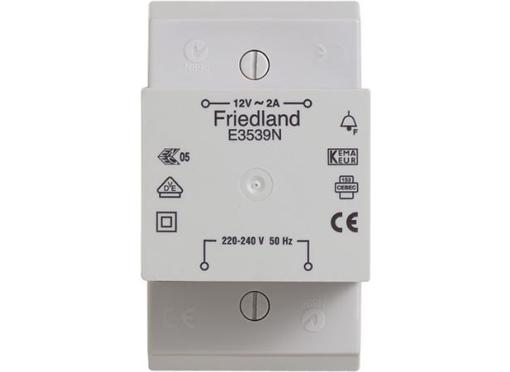 Friedland By Honeywell Ringetrafo 12v 2A din skinne